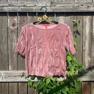 light pink velvet shirt.